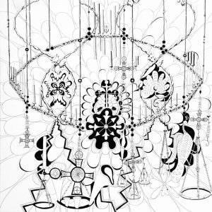 Qui sopra, Incroci bizantini di Tatiana Chafcouloff . Nella a foto in alto, il console Seytre con le artiste