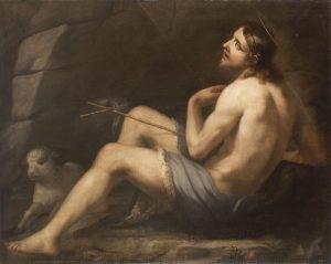 Qui sopra, San Giovanni Battista di Luca Giordano e, in alto, il grande paesaggio di grande paesaggio Mercurio e il boscaiolo disonesto di Salvator Rosa
