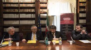Nella foto da sinistra, Luca De Fusco, Filippo Patroni Griffi, Dario Franceschini, Massimo Osanna durante la conferenza di presentazione della rassegna\ ilmondodisuk.com