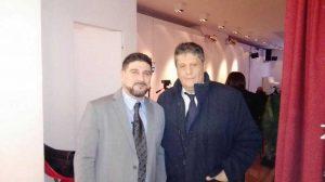 Qui sopra, da sinistra Giuseppe Puntix e Giuseppe Colombo, presidente dell'associazione Arte Italia Cultura
