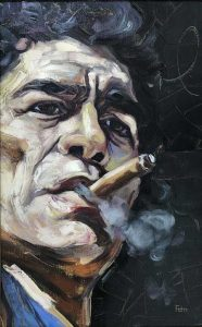 Qui sopra, il ritratto di Maradona. In alto, particolare del dipinto dedicato a Pino Daniele