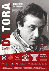 """Qui sopra, la locandina dell'evento con il ritratto di Gianni De Tora. In alto, l'opera """"Zikkurat"""" del 1984"""