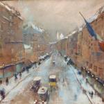 Boulevard con neve