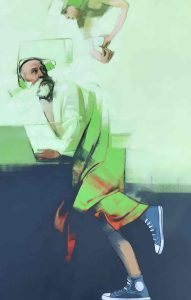 Qui sopra, San Matteo indossa le scarpe da ginnastica. In alto, Gianluca Carbone e in basso, un'altra opera in mostra