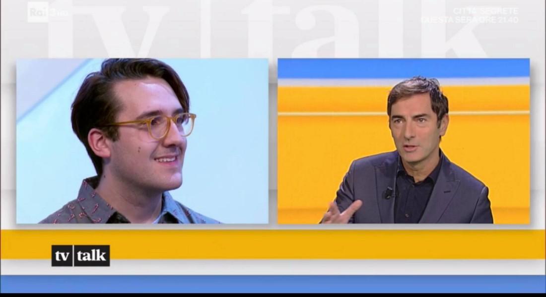 Qui Giammy si confronta con il conduttore televisivo radiofonico, Marco Liorni