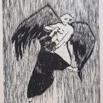La lotta con l'angelo 2, xilografia, 1995, cm. 45x35