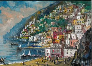 Qui sopra, Positano e in alto Napoli, dipinte da Eugenio Magno