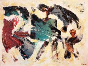 Qui sipra, un 'opera di Tina Vaira. In alto, l'artista