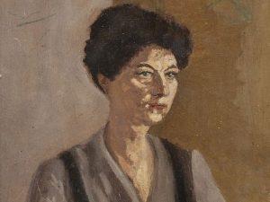 Qui sopra, il ritratto che Pirandello fece alla moglie Antonietta. In alto, l'autore siciliano