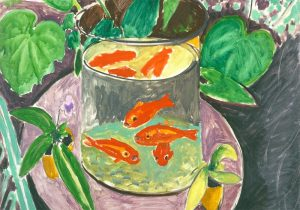 Qui sopra, i pesci rossi di Matisse. in alto, un momento dei laboratori tenuti da Luigi Filadoro