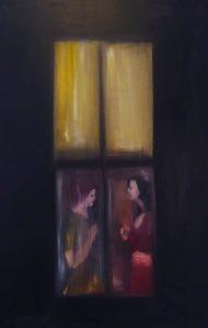 Qui sopra, l'opera di Luisa Corcione proposta per il progetto di TempoLibero. In alto, l'autrice